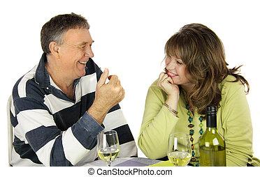 The Conversation - Middle aged couple having a conversation ...