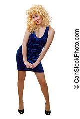 blonde girl in blue dress