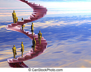 The corporate ladder. - Businessman on the corporate ladder...