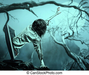 The corpse woman gets out of the computer monitor against...