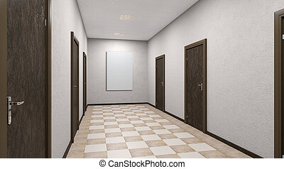 The Corridor in office building. 3D rendering