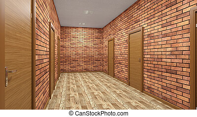 The Corridor in office building. 3D rendering