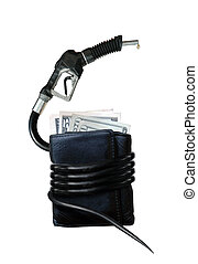 The Cost of Gasoline - Gasoline nozzle wrapped around a...