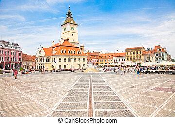 The Council Square in downtown in Brasov, Romania.