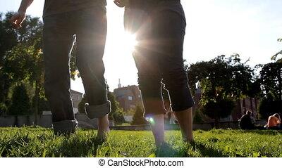 The couple have fun in sun set ligh