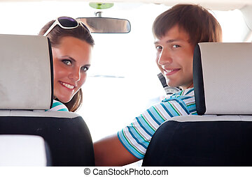 The couple in a car