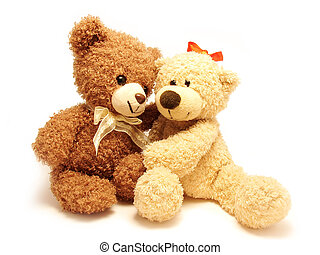 romantic teddy-bears - the couple of romantic teddy-bears...