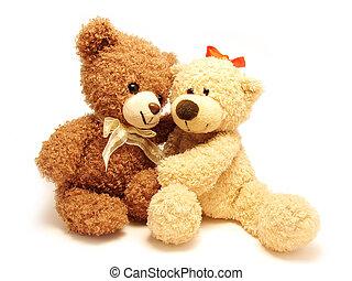 romantic teddy-bears - the couple of romantic teddy-bears...