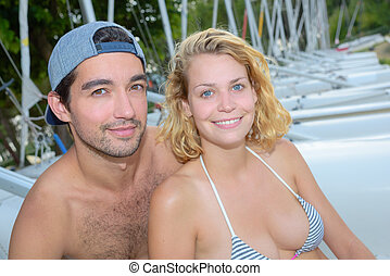 the couple posing
