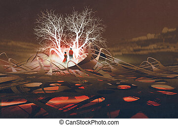 the couple standing in front of glowing trees