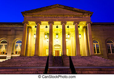 The Court of Appeals at night in Washington, DC. - The Court...