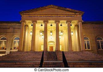 The Court of Appeals at night, in Washington, DC.