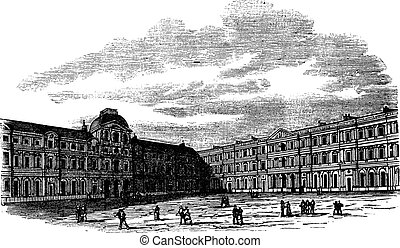 The courtyard of Louvre Palace in Paris France vintage engraving