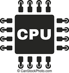 The cpu icon. Microprocessor and processor symbol. Flat...