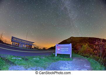 The Craggy Pinnacle visitors center at night