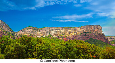 Crags of Tavertet with clouds, Barcelona, ??Catalonia, Spain