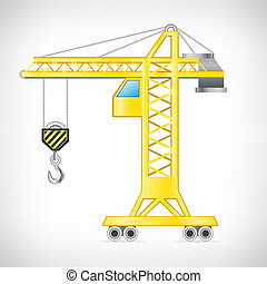 The crane isolated on the white background