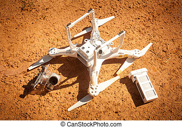 The crashed drone on the ground