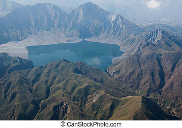 The crater of Mt. Pinatubo from the air, Philippines