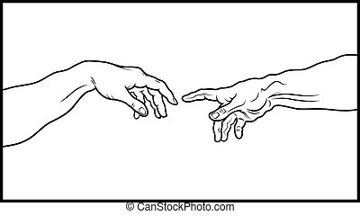 The Creation of Adam. Fragment (Outline vesion) - \'Creatio...