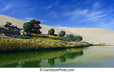 The Crescent Spring in Dunhuang, China