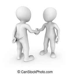 The criminal with a knife and its victim shake hands. 3d small people.