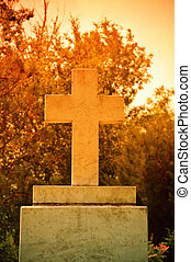 The cross at the sunset