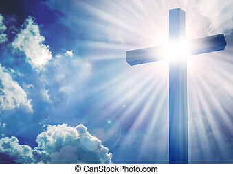 Christian cross with bright sun and clouds background