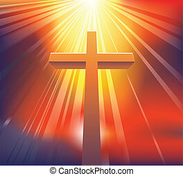 The Cross - An awesome dramatic Christian cross bathed in...