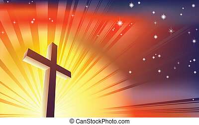 The Cross - An awesome Christian cross bathed in light