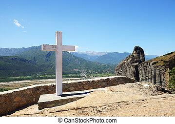 The cross is near Monastery of Holy Trinity, Meteora, Greece...