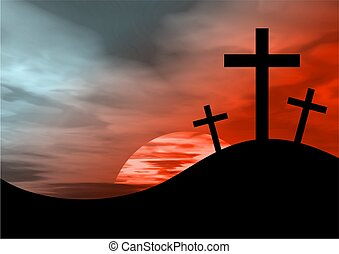 the cross of calvary against a blood sky background