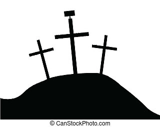 The Cross of Jesus - The three crosses with sign on Calvary...