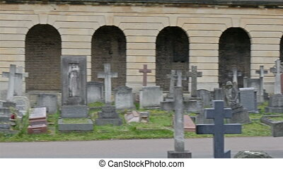 The cross on each gravestones in the cemetery