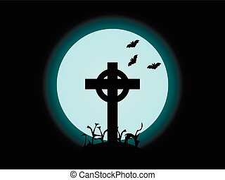The cross on the background of the full moon, halloween. Vector illustration.