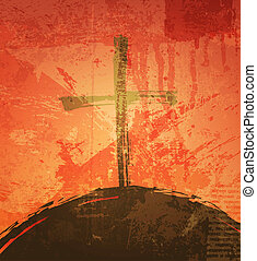 The cross on the grunge background. The biblical concept. ...