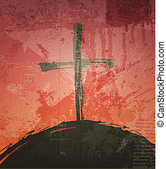The cross on the grunge background. The biblical concept. Sunset