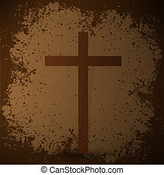 The cross on the grunge background. The biblical concept.