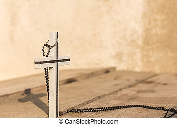 The cross on wooden