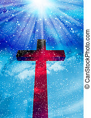 The cross with clouds background- Christian cross