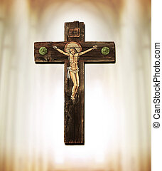 The Cross - Old wooden cross depicting crucifixion of Jesus...