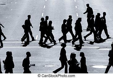 The Cross Walkers #2 - Business people in the cross walk.