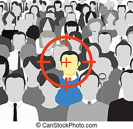 The crowd of grey people and the target on color man