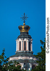 The crown on the roof of the Jesuit Church of St. Casimir in Vilnius