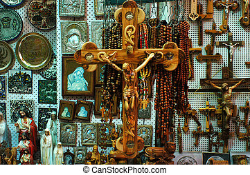 The crucifix Jesus on a wooden cross in souvenirs shop in Jerusalem old city, Israel.