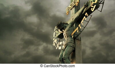The Crucifixion. Christian cross with Jesus Christ crucified...