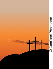 The crucifixion - Hill with three crosees. Symbol of...