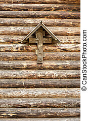The Crucifixion of Jesus Christ on a wooden wall