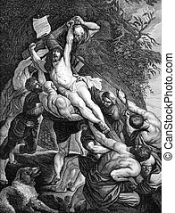 The Crucifixion of Jesus on engraving from 1840. Drawn by...