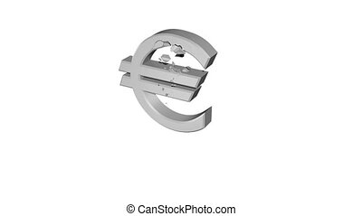 The Crumbling Euro - A cement Euro crumbling into pieces...